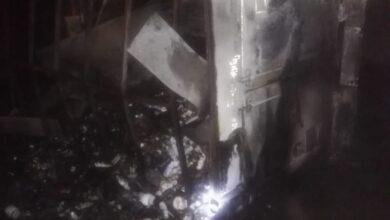 Photo of تصادم سيارتين نقل ثقيل أمام قرية  العقب بقوص